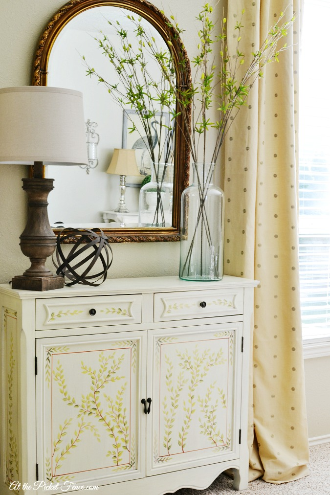 family room painted console table atthepicketfence.com