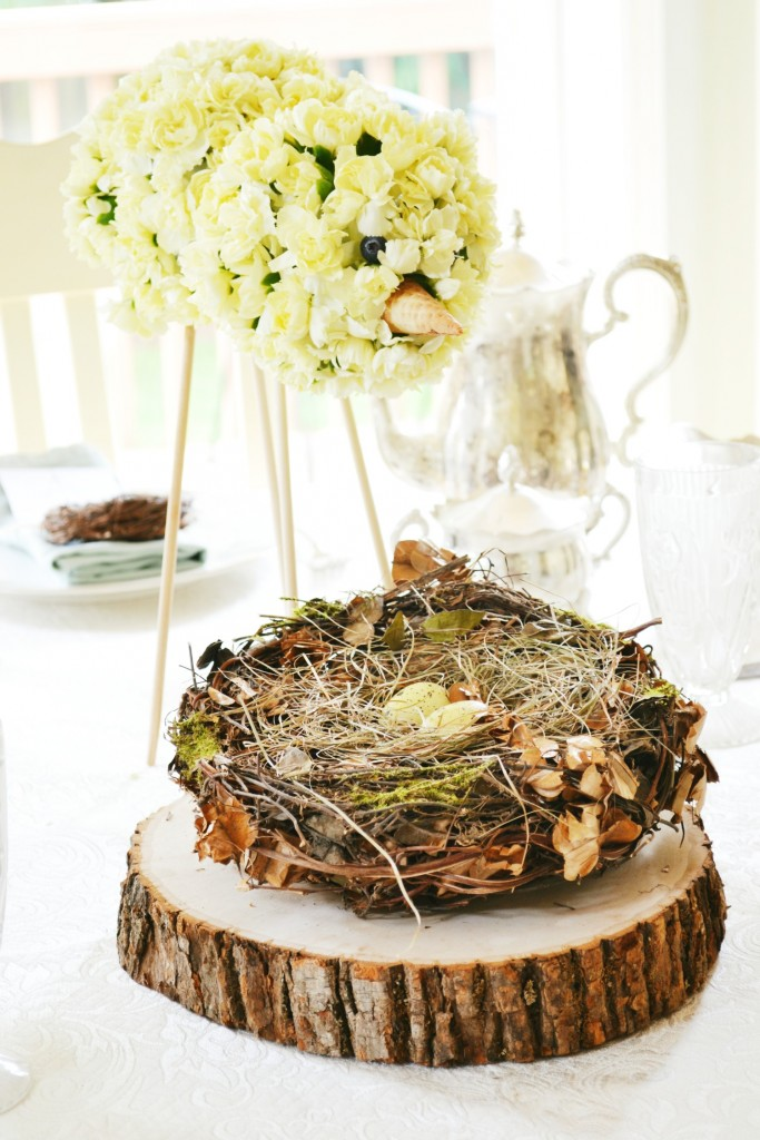 flower bird spring baby shower centerpiece
