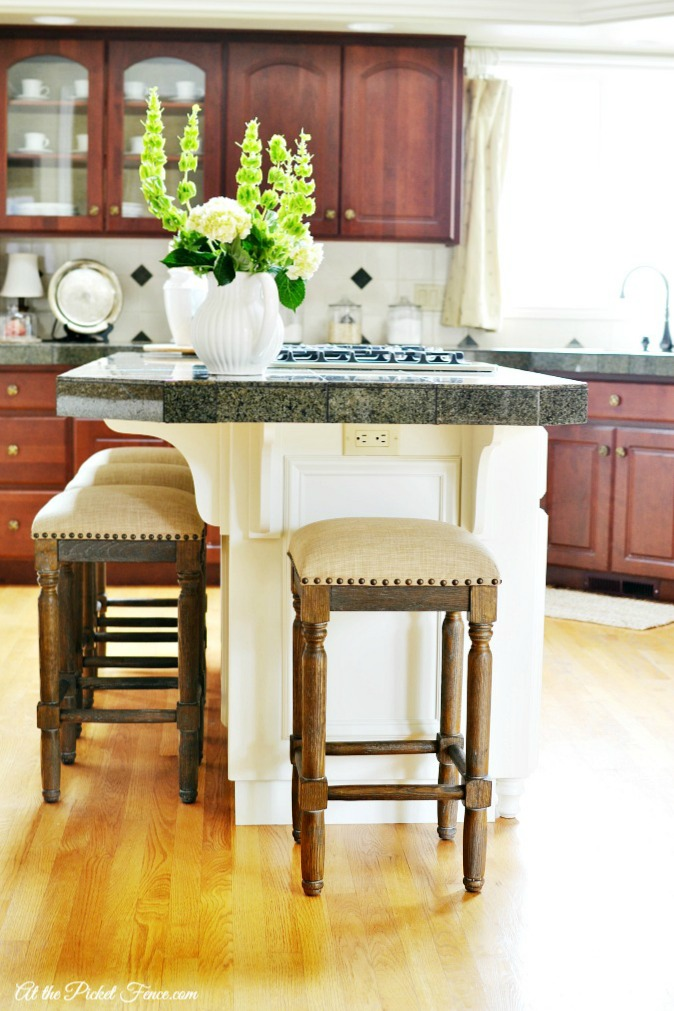 kitchen island makeover with white paint atthepicketfence.com