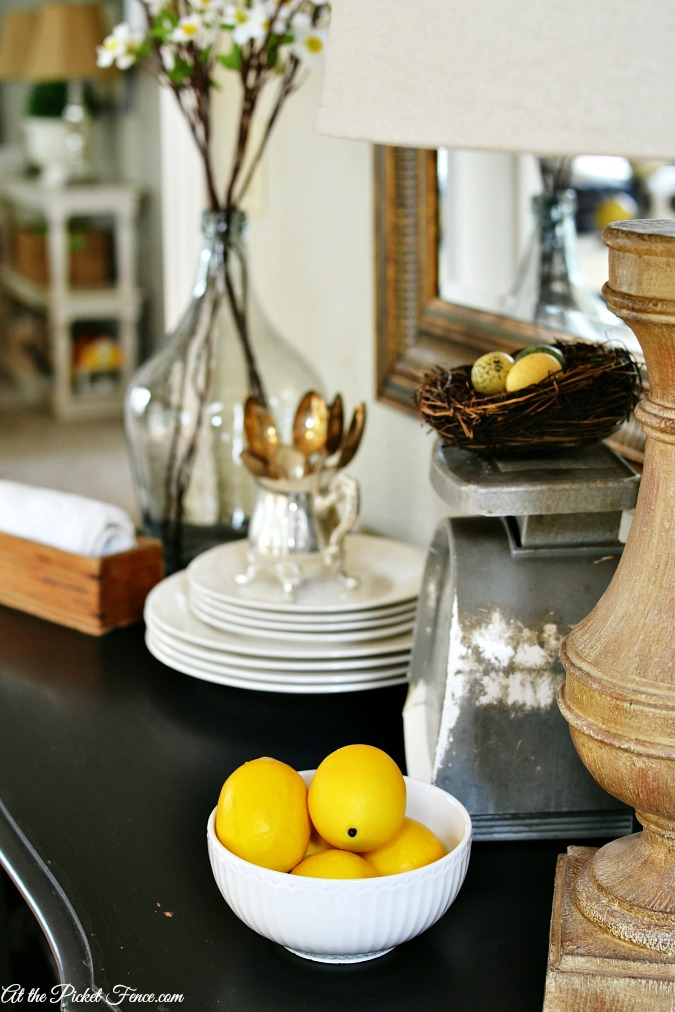 simple buffet table decorating for spring atthepicketfence.com