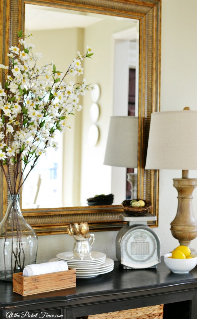 spring decorating ideas for a sideboard atthepicketfence.com