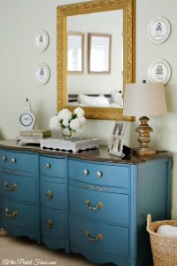 dresser painted blue with dark top atthepicketfence.com