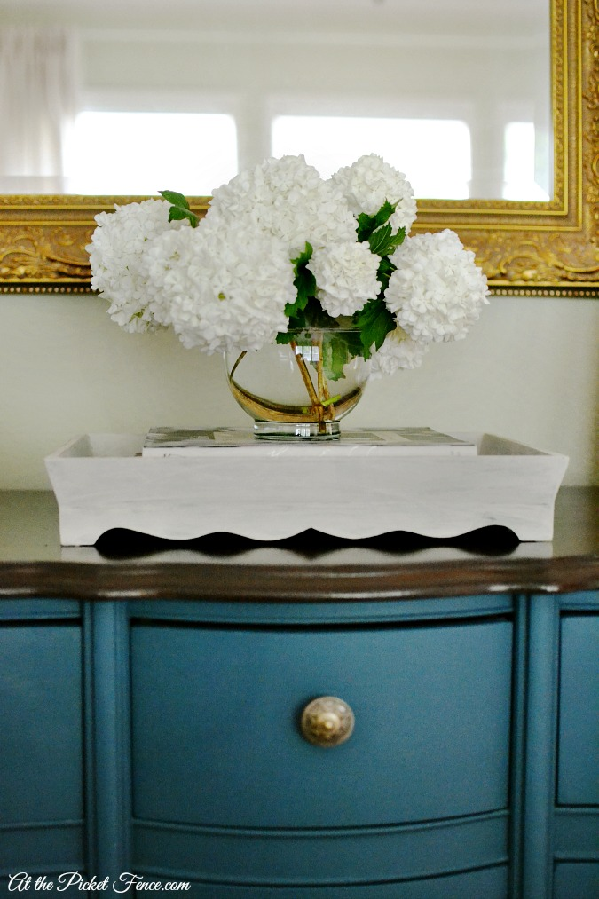 dresser with tray on top