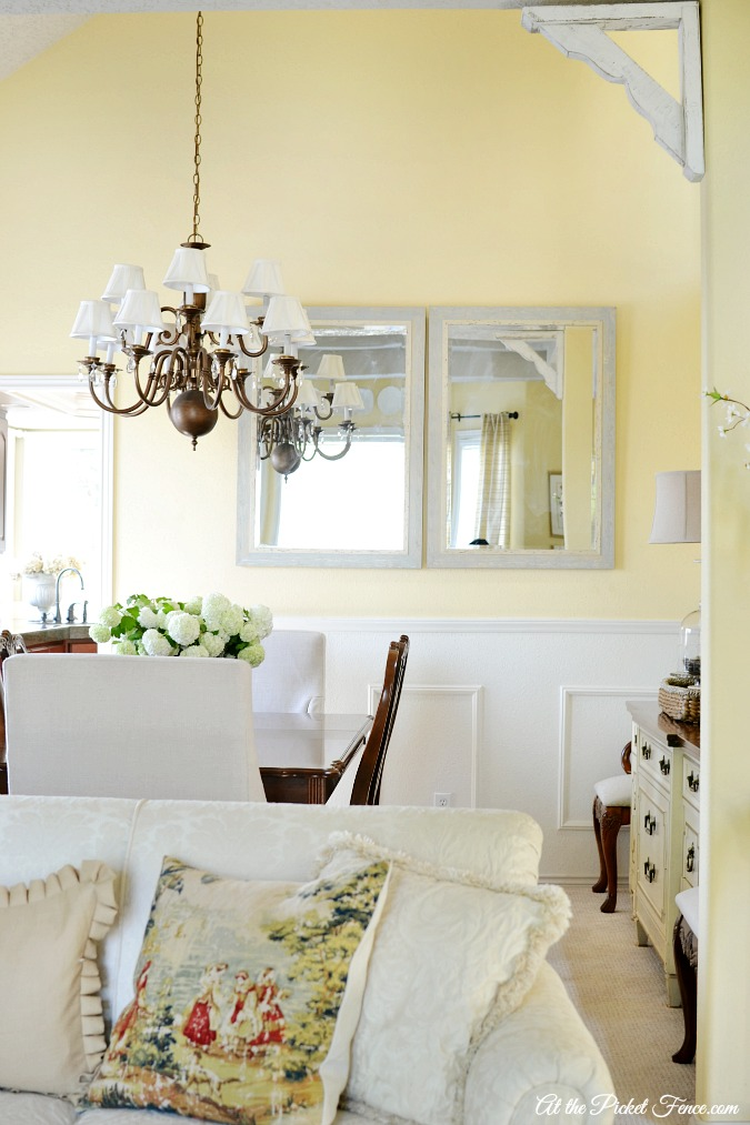 living and dining room with a french country feel atthepicketfence.com