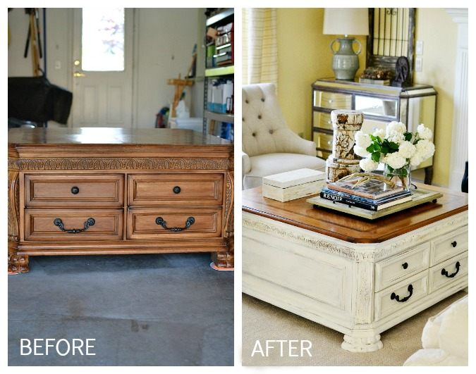 Before and After Coffee Table Makeover with Chalky paint atthepicketfence.com