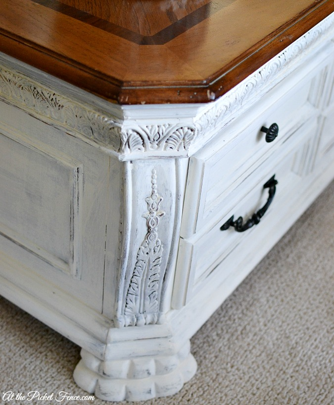 chalky finish paint detail on coffee table legs