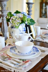 blue and white table setting with Mikasa dishes