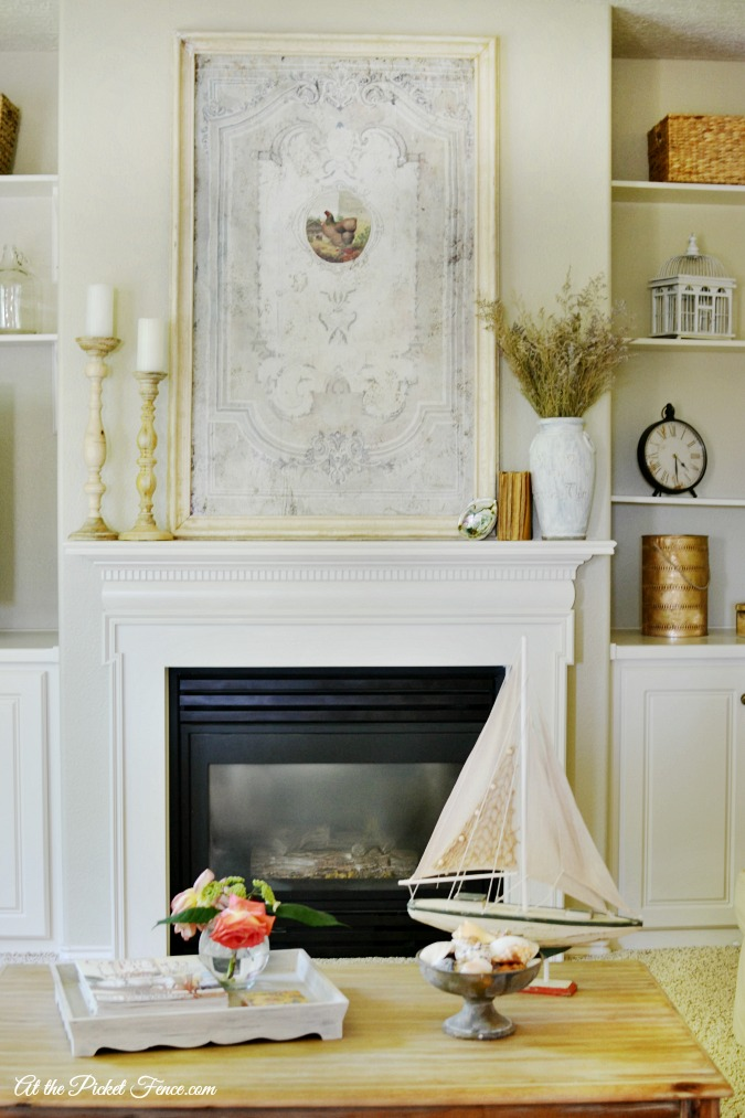 easy summer decor in family room atthepicketfence.com