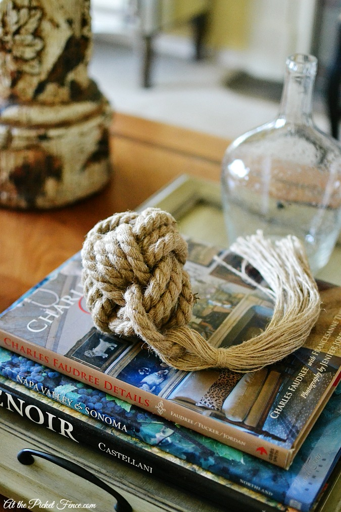 knot tassel on coffee table summer decor