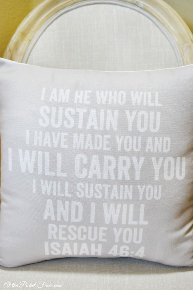 bible verse printed on pillow