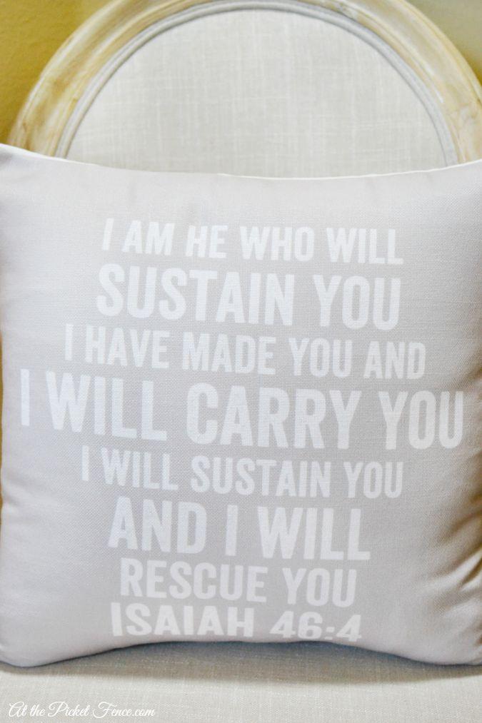 bible verse printed on pillow