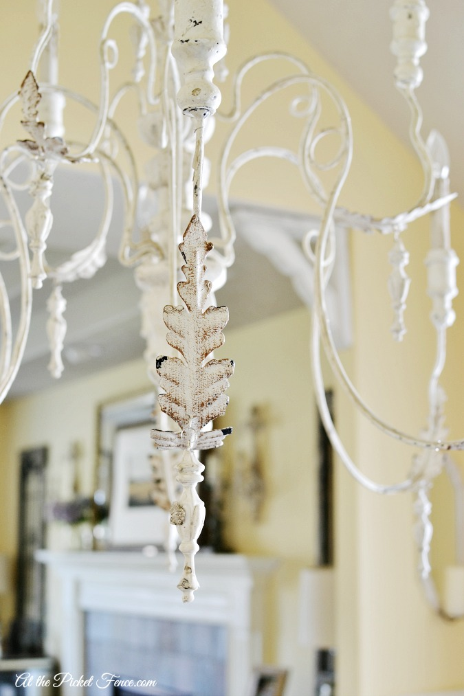 french country chandelier details atthepicketfence.com