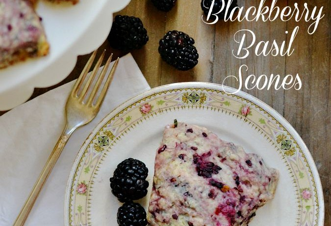 Blackberry Basil Scones With Lemon Glaze