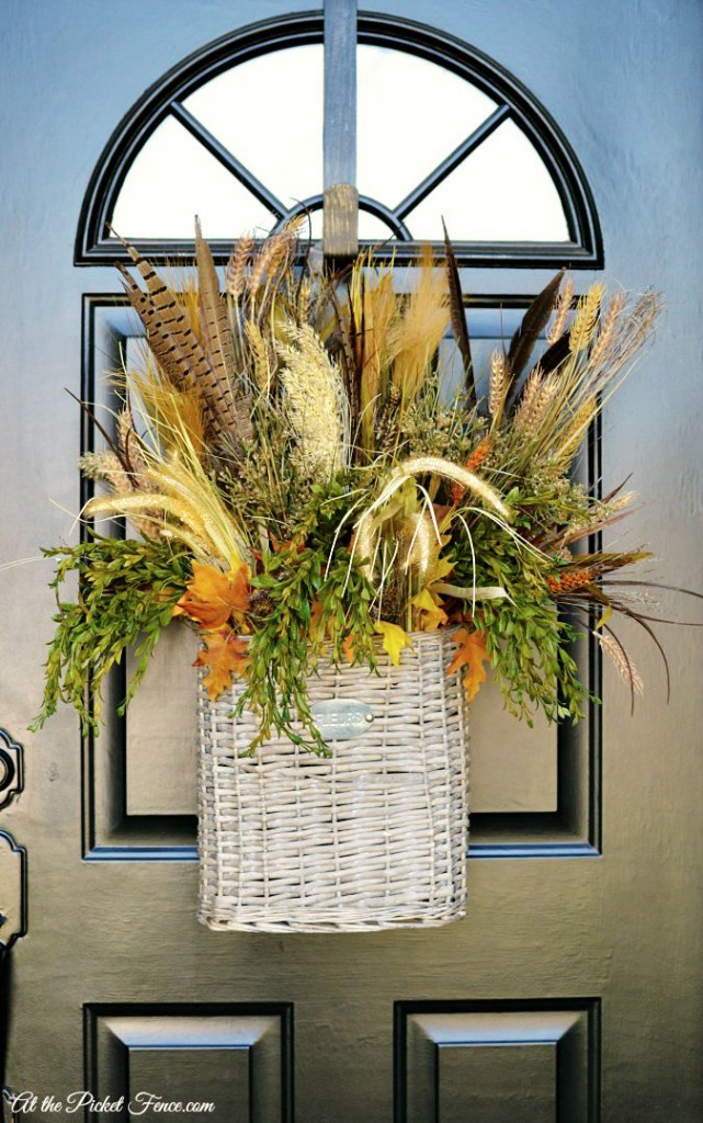 Fall Foliage Basket on Front Door atthepicketfence.com