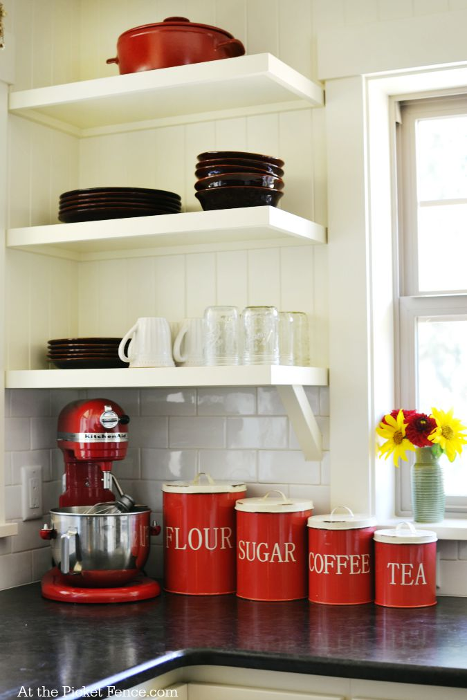 Open shelves in kitchen atthepicketfence.com