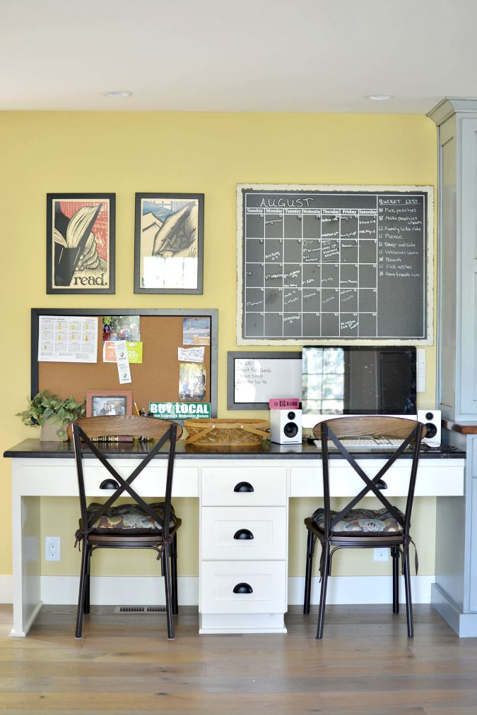 double desk workspace in kitchen atthepicketfence.com