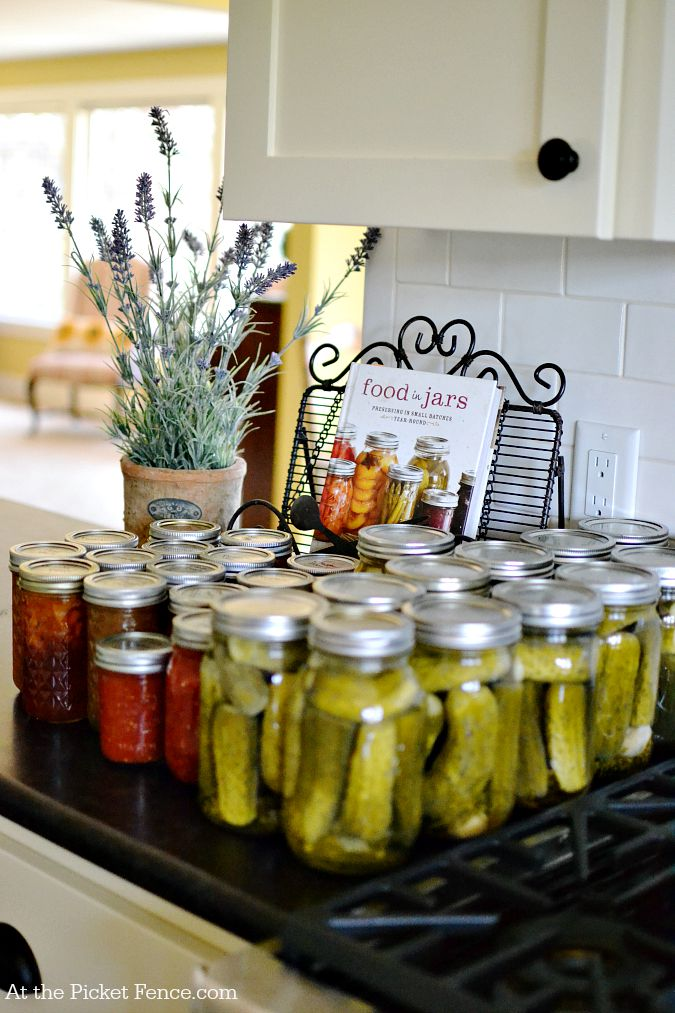 farmhouse counter with canned goods atthepicketfence.com