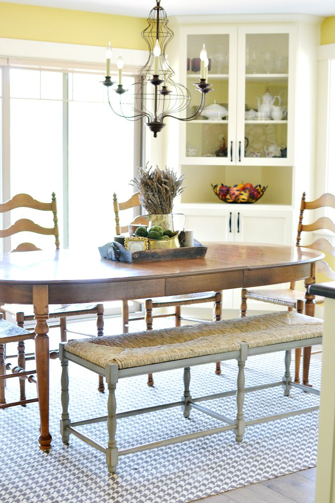 Farmhouse Dining Room With Bench Seating