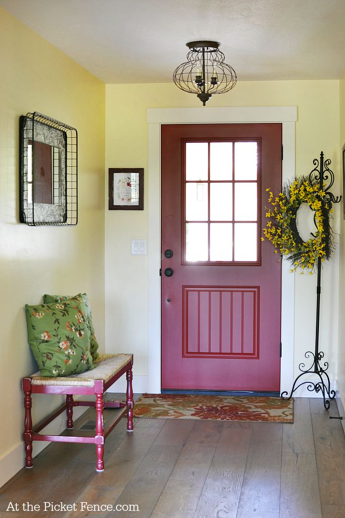 farmhouse entry with red front door atthepicketfence.com