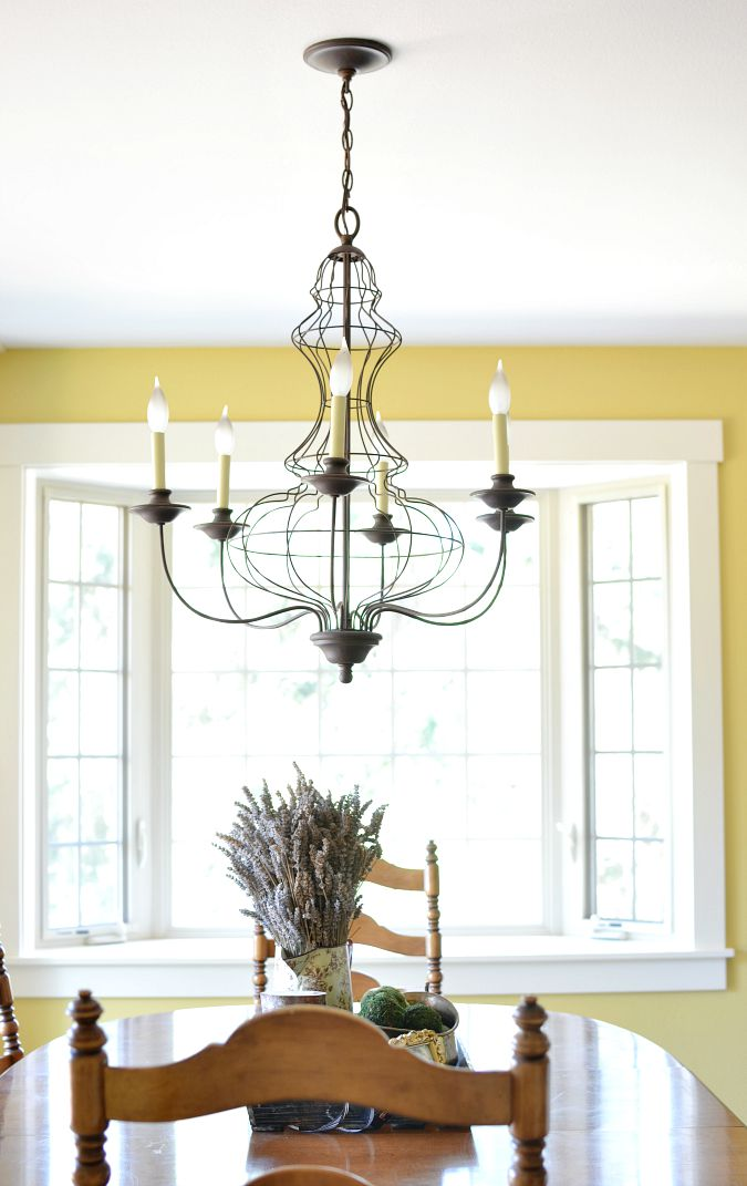Before and After Dining Room Makeover At The Picket Fence : farmhouse style dining room chandelier from www.atthepicketfence.com size 675 x 1071 jpeg 122kB