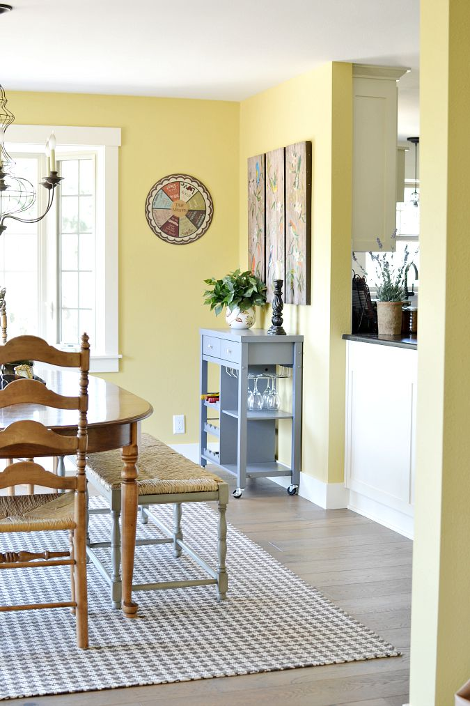Before and after dining room makeover at the picket fence for Dining room off kitchen