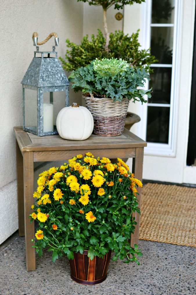 simple fall front porch decor atthepicketfence.com