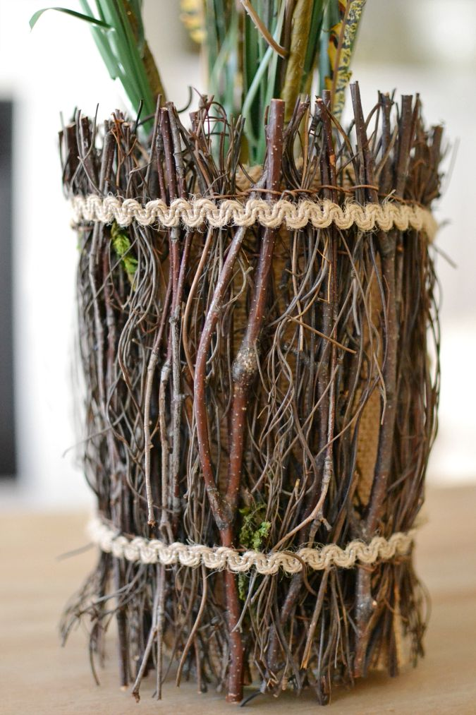 sticks around vase with twine atthepicketfence.com