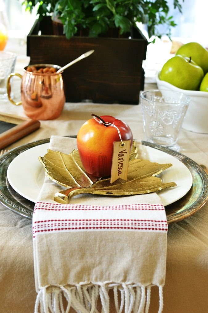 apple themed place setting with an apple placecard holder atthepicketfence.com