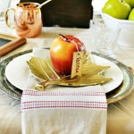 fall place setting with apple place card