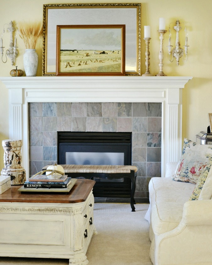 french country living room with fall decor