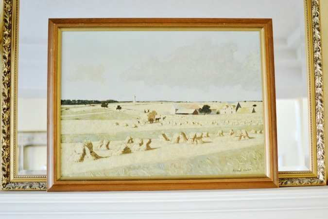 pastoral painting on fall mantel atthepicketfence.com