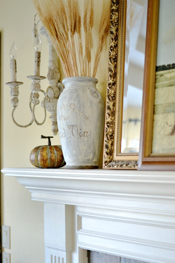simple fall mantel decor atthepicketfence.com