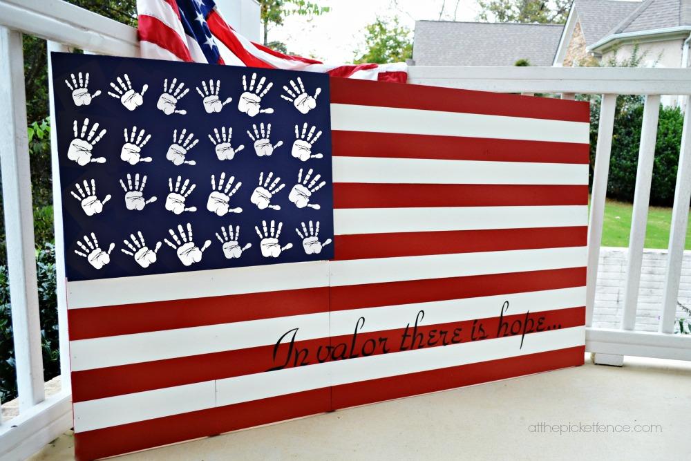Handprint DIY Wooden American Flag