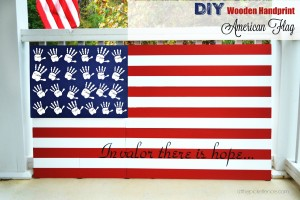 Handprint DIY Wooden American Flag labeled