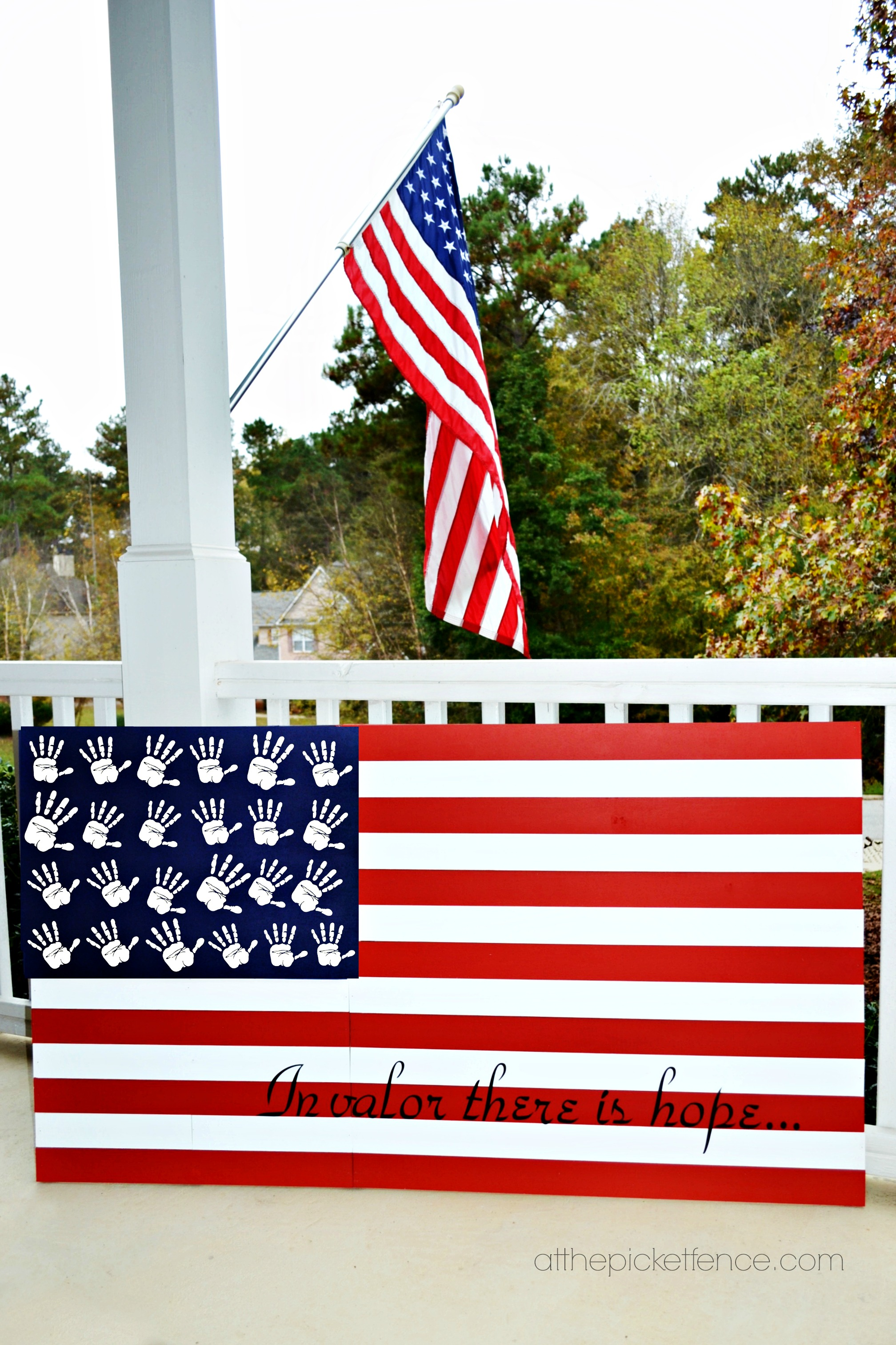 Diy Wooden Handprint American Flag At The Picket Fence