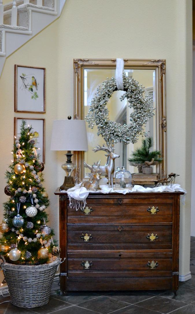 Glam-ish Christmas Entry Decor