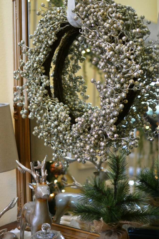silver glittered berry wreath