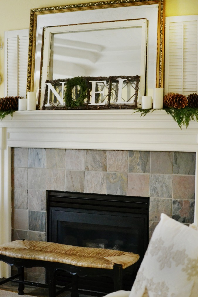 Christmas mantel with noel letters in twig frame