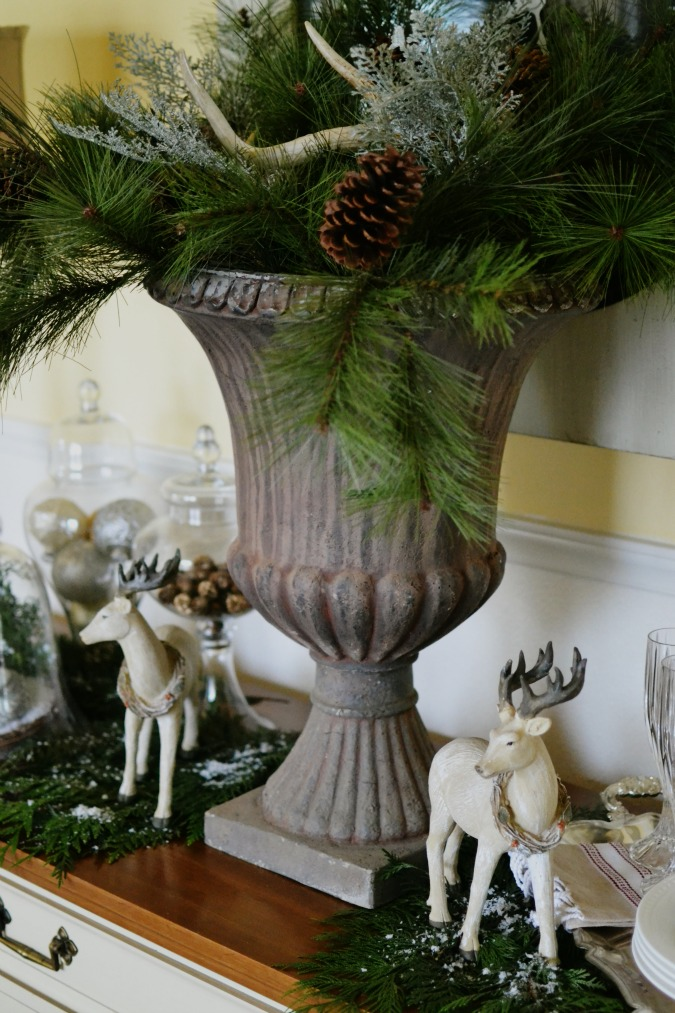 Large Urn on Christmas buffet table atthepicketfence.com