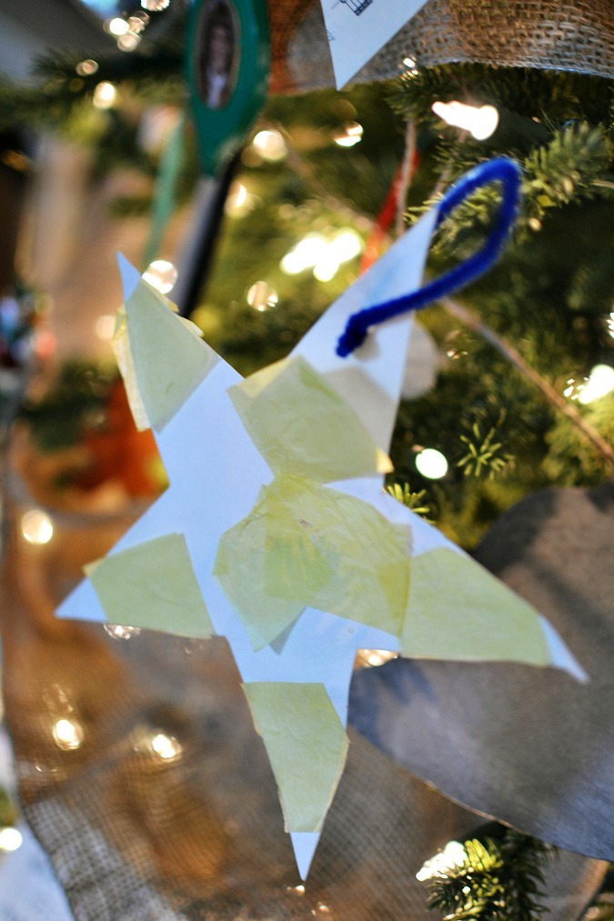 child's paper star ornament
