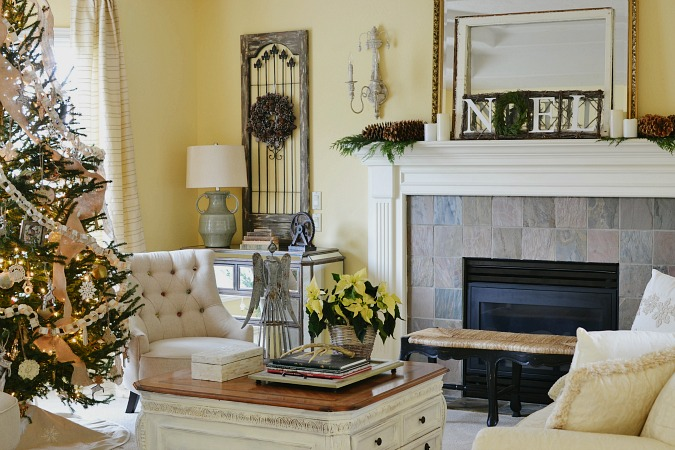 french country style Christmas living room atthepicketfence.com