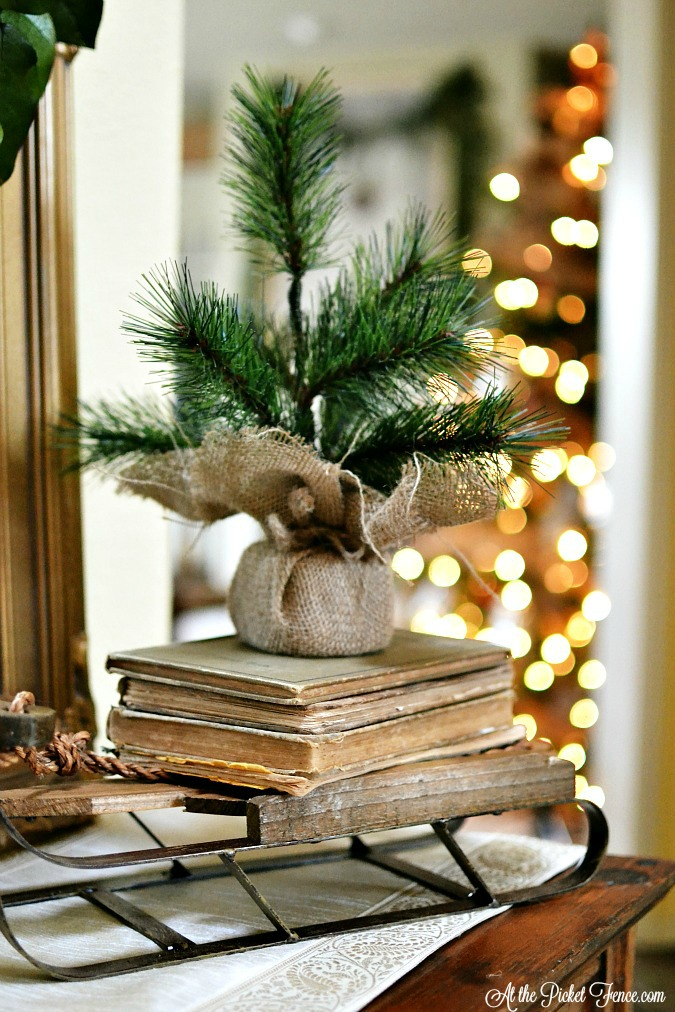 sled with vintage books and little tree atthepicketfence.com