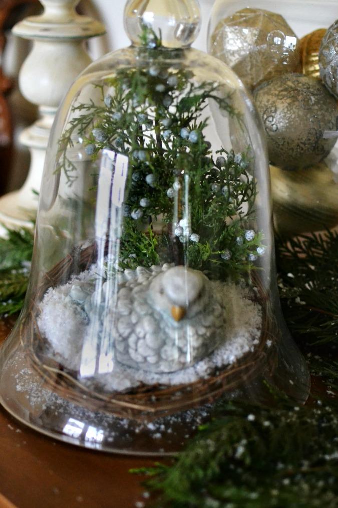 winter bird in nest under glass dome atthepicketfence.com