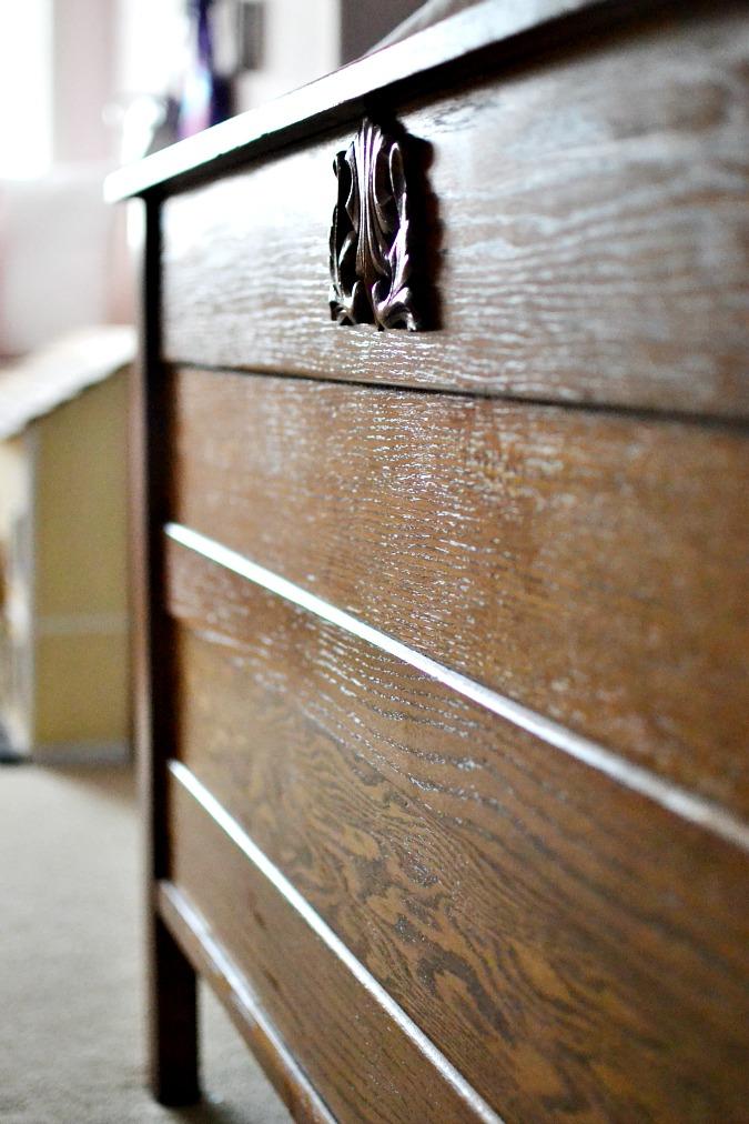 Carved oak footboard atthepicketfence.com