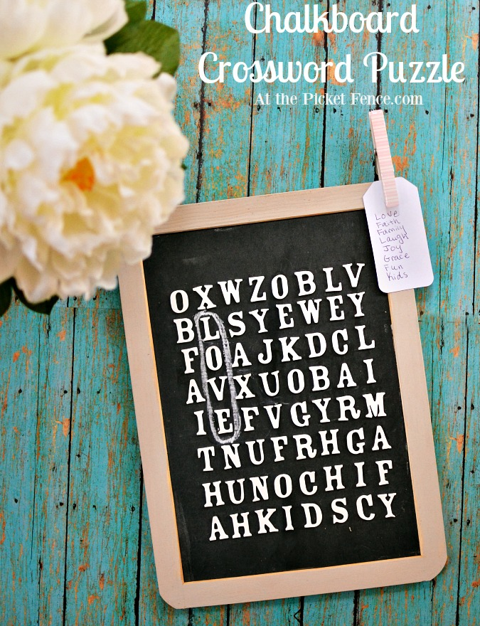 Chalkboard Crossword Puzzle from At the Picket Fence.com