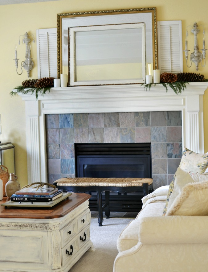 Mantel with shutters and frames atthepicketfence.com