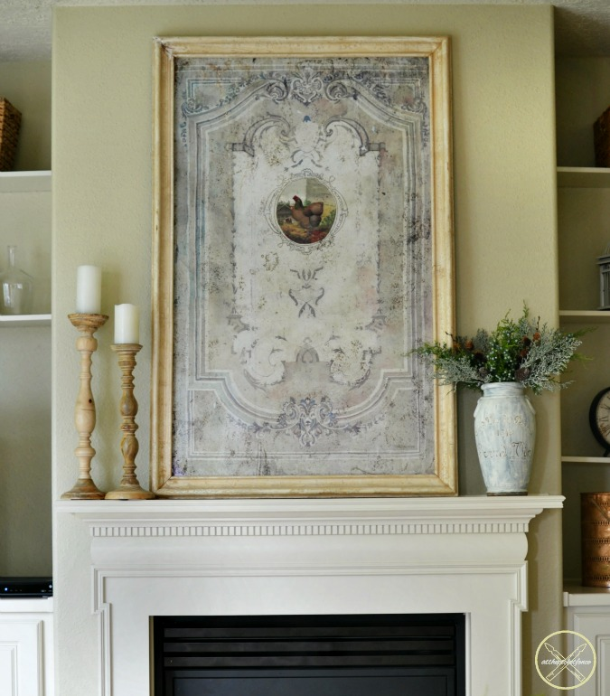 simple french country fireplace decor atthepicketfence.com