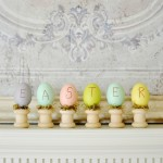 Easter eggs on wood spindles craft atthepicketfence.com