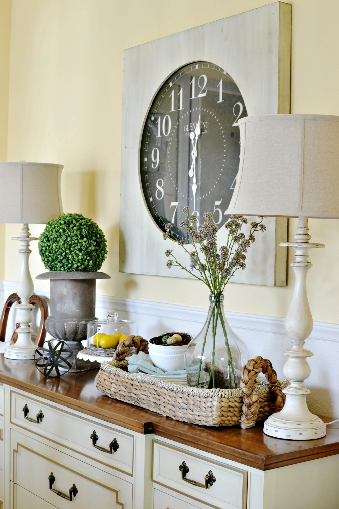 spring buffet table decor at the picket fence. Black Bedroom Furniture Sets. Home Design Ideas