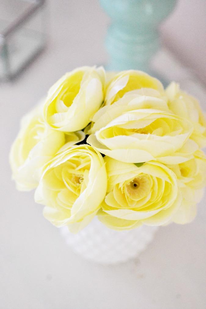 silk yellow roses